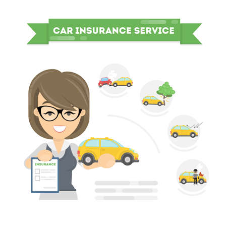 disaster: Car insurance infographic on white background. Insurance female agent with service.