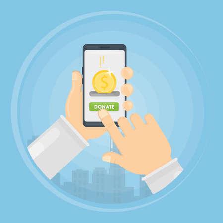 Money donation through smartphone concept illustration. Symbol charity. Illustration