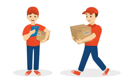 Delivery man set with parcel in red uniform on white background.