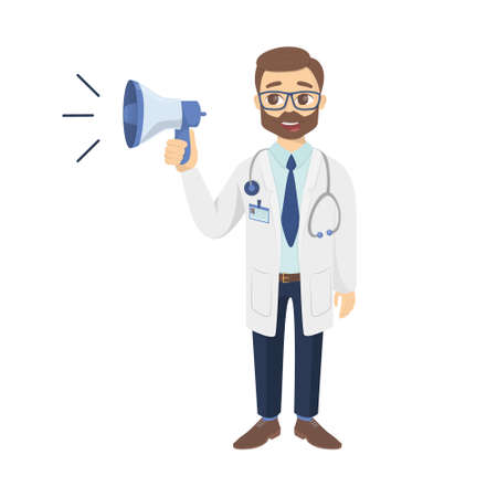 Isolated doctor with loudspeaker on white background. Emoji.