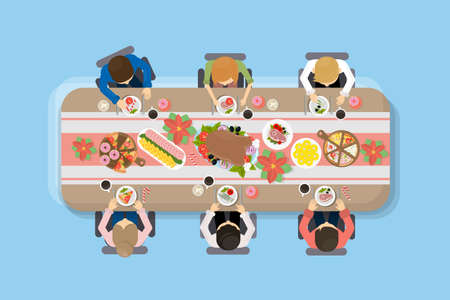 Family dinner top view. People sit at the table and eat different meals. Stock Illustratie