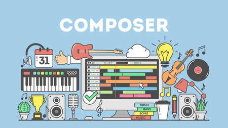 Cmposing illustration de musique concpet sur fond bleu.