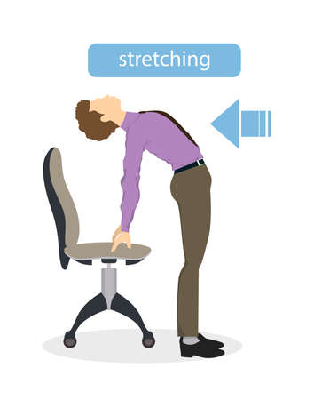 Sport exercises for office. Office yoga for tired employees with chair and table. Back stretching. Illustration