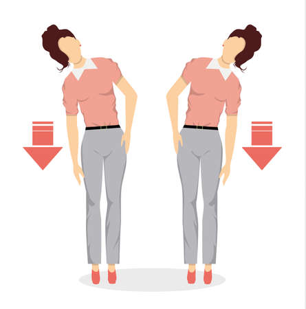 Sport exercises for office. Office yoga for tired employees with chair and table. Side stretching. Illustration