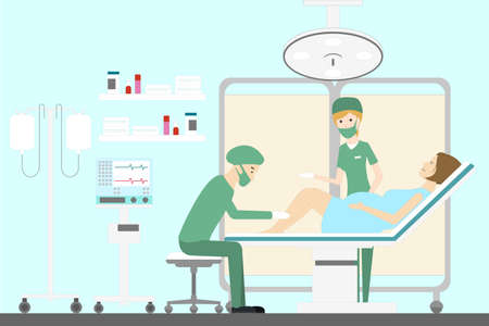 woman lying in bed: Giving new life in a maternity hospital. Woman in pain. Illustration