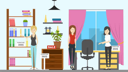 closet: Furniture store interior. Buying new closet and workplace for woman. Illustration