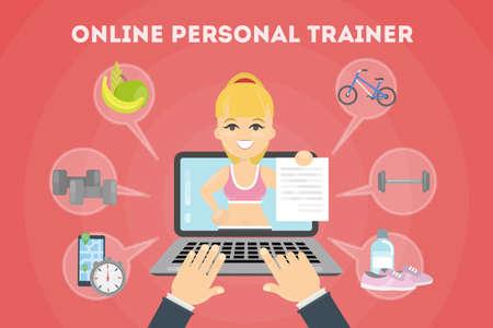 Entrenador personal de fitness en línea. Portátil con iconos. Ilustración de vector