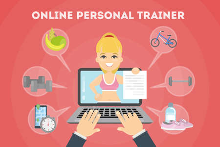 Personal fitness trainer online. Laptop with icons. Vetores