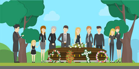 Funeral ceremony illustration. Sad and crying people say good-bye to the dead person.