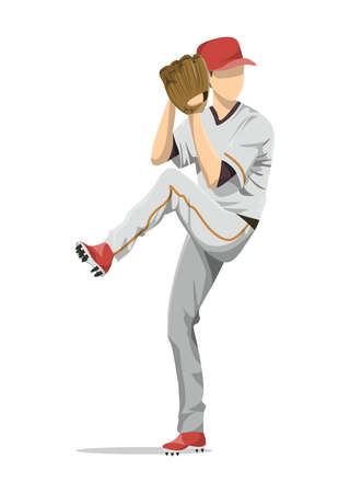 mitt: Isolated baseball player with glove. Isolated character on white background. Illustration