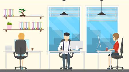 Mensen in kantoor. Stock Illustratie