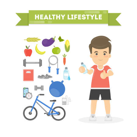 gym equipment: Healthy lifestyle concept. Illustration