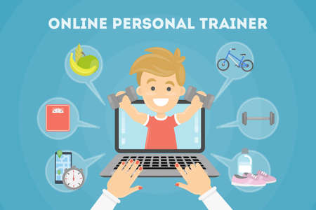 personal trainer: Personal trainer online. Illustration