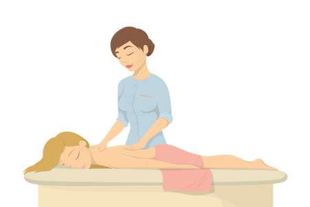 Massage in spa salon.