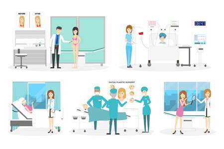 Plastic surgery clinic set. Illustration