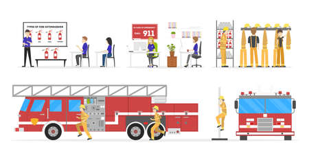 Fire station nterior set. Stock Vector - 79099539