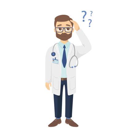 Medico confuso con domande. Illustrazione vettoriale.