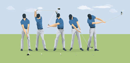 Golf player motions. Stock Photo