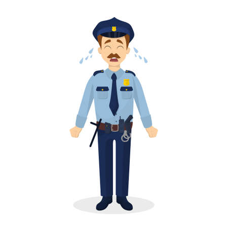 Isolated crying policeman.