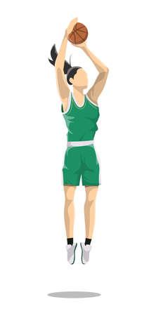 Woman plays basketball. Illusztráció