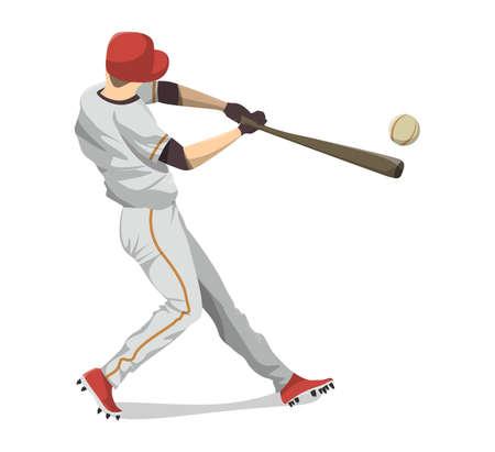 Isolated baseball player. Illustration