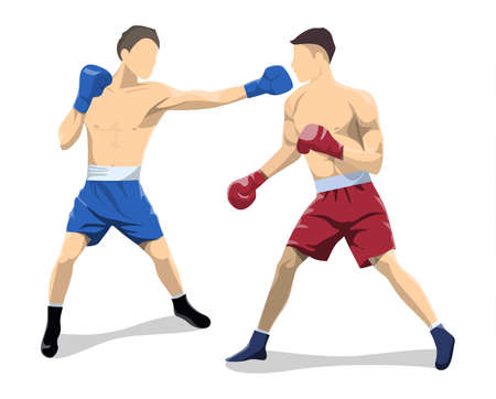 Isolated boxers fight.