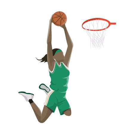 Woman plays basketball. Stock Illustratie