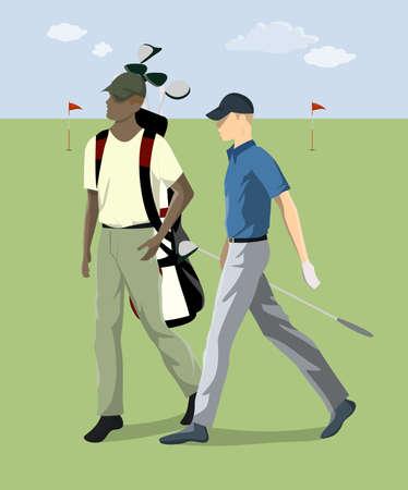 Golf player with club. Ilustração