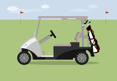 Golf car on the grass.