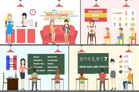 Language school set. Illustration