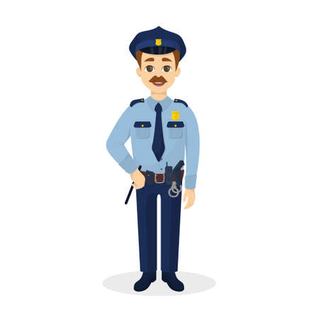 belt up: Isolated happy policeman.
