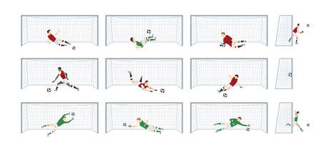 Juego de puertas de fútbol. Ilustración de vector