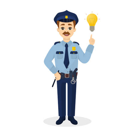 Isolated policeman with idea.