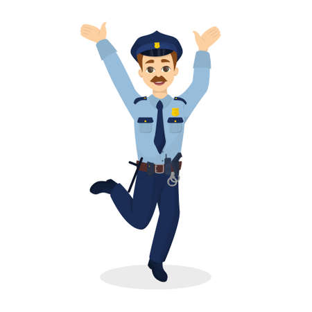 belt up: Isolated jumping policeman. Illustration