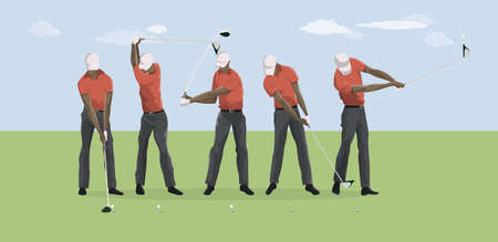 Golf player motions. Illustration