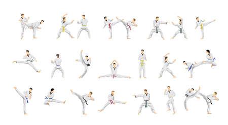 couple fight: Taekwondo sport set.