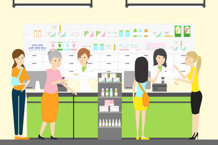 People in pharmacy store. 版權商用圖片 - 80089962