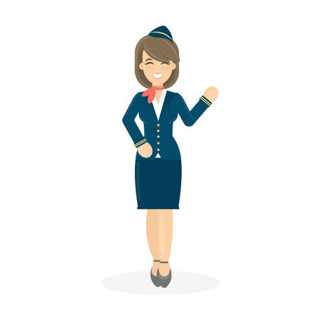 Geïsoleerde glimlachende stewardess. Stock Illustratie