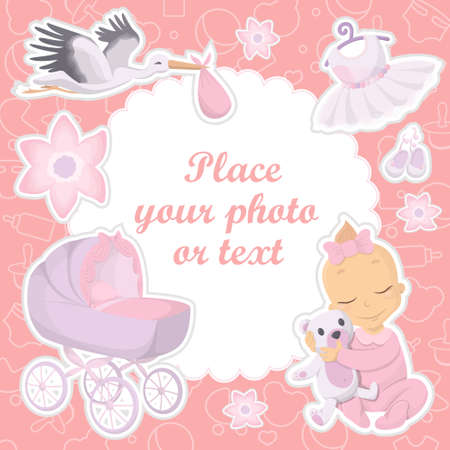 Baby girl photo album cover vector. place your photo or text. Illustration