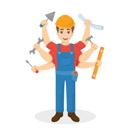 Builder man with six hand, Multitasking concept