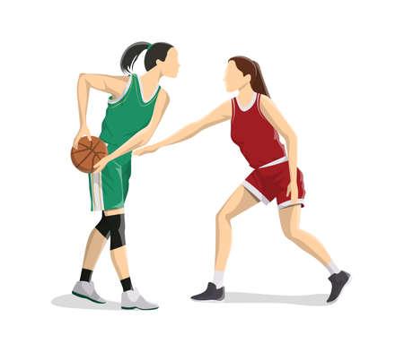 Women play basketball. Illustration