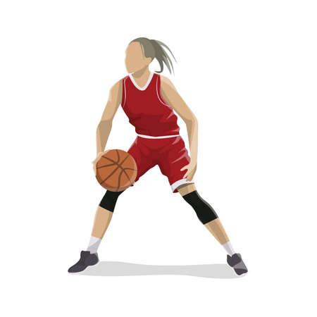 Vrouw speelt basketbal. Stock Illustratie