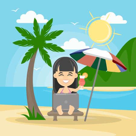 Freelance woman at the beach.