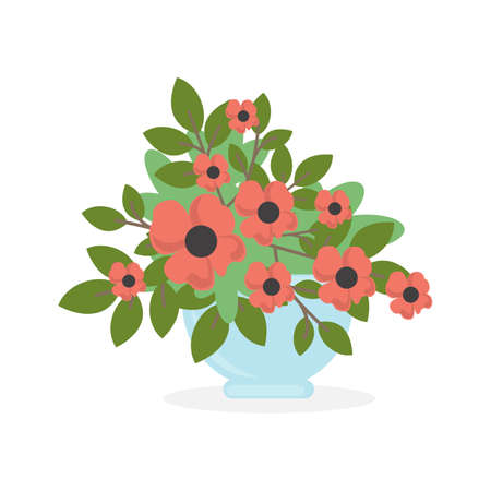 Flowers in pot. Illustration