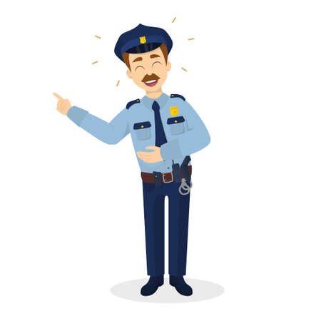 belt up: Isolated laughing policeman. Illustration