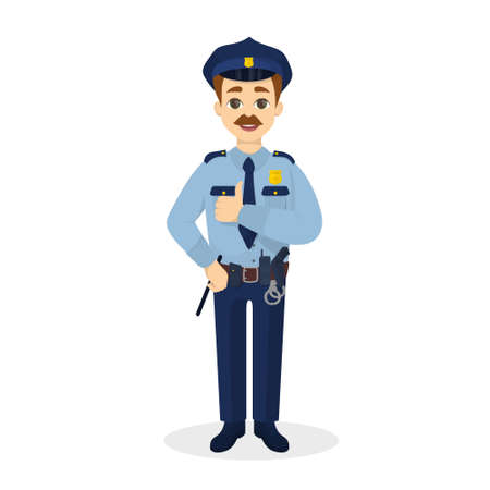 belt up: Isolated thumb up policeman.