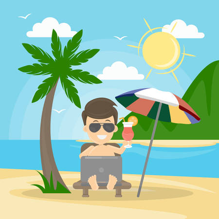Freelance man at the beach.