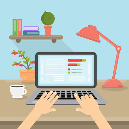 viewing: Laptop on table. Illustration
