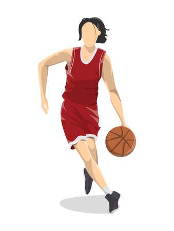 Woman plays basketball. 向量圖像