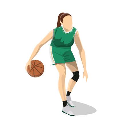 Woman plays basketball. Иллюстрация